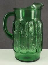 Vintage Hocking Mid Century Christmas Green Glass PITCHER Ice Lip Wood Grain