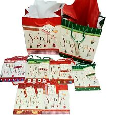 Christmas Gift Bags Set of 8 With Red White Gift Paper Holiday Gifts Santa New