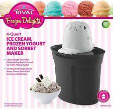 Rival Frozen Delights 4 Quart Ice Cream, Frozen Yogurt, Sorbet Maker