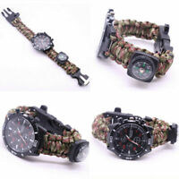 Multifunction Survival Bracelet Umbrella Rope Camping Compass Whistle Watch