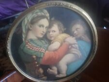 vintage antique Rafael Madonna Child print round giltwood frame glass circa 1927