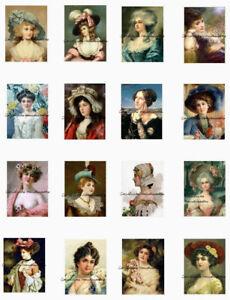 "Victorian Ladies Minis A Cotton Fabric Quilt Blocks (16) @ 1.25X2"" on 8.5X11"""