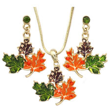 Colorful Maple Fall Leaves Earrings Necklace Set Thanksgiving Halloween Jewelry
