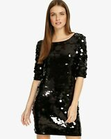 BNWT RRP£120 Phase Eight Black Belda Sequinned Evening Party Shift Dress UK8