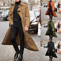 Stylish Men's Breasted Trench Coat Casual Lapel Long Sleeve Windbreaker Jacket