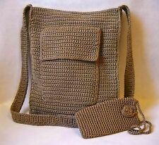 Divine Taupe Tan Shoulder Bag Purse Eye Glass Case Crocheted Knit Tote Handbag