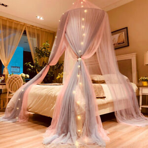 Princess Bed Canopy Romantic Round Dome Bed Curtains Mosquito Net Bedroom Decor
