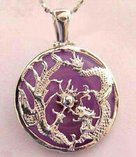 Purple Jade White Gold Plated Dragon Phoenix Sun Luck Pendant and Necklace