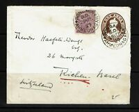 India 1929 Uprated Postal Stationary to Switzerland  - Lot 092417