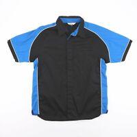 Vintage BIZ COLLECTION Black & Blue Plain Casual Worker Shirt Men's Size Large