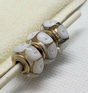 RETIRED Genuine Authentic 14k Gold Murano White Mystic Charm Bead 750406 585 ALE