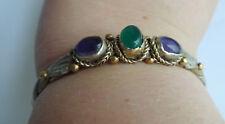 Vtg Modernist Amethyst Emerald Green Stone Sterling Brass Copper Bracelet Cuff