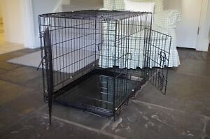 Folding dog cage, black metal, two openings, 30 inch (75 cm) hardly used