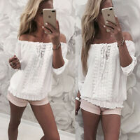 HOT Women's Off Shoulder Gypsy Top Lace Up Ruched Boho Blouse T Shirt Ladies UK