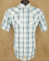 LARRY MAHAN Cowboy Collection Mens Short Sleeve Pearl Snap Plaid Shirt Size S