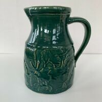 ROWE POTTERY WORKS Green Stoneware PITCHER Cambridge Wisconsin Leaf Pattern