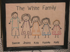 Primitive Stitchery, Stick People Family, Family Stitchery, Rustic, Sampler