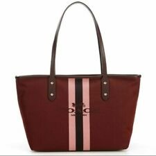 COACH Horse and Carriage Jacquard City Tote (Oxblood/Gold) Handbags MSRP. 295$