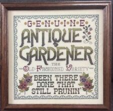 Genuine Antique Gardener Framed Completed Cross Stitch Violets 9037 12x12 Garden