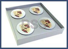 New Genuine Porsche Tequipment Full Color Wheel Center Caps Crest OEM Set of (4)