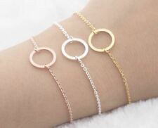 Women Circle Geometric Bracelet Rose Gold Coloured- Adjustable Length