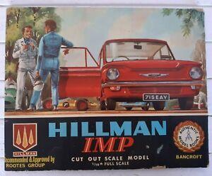 Vintage 1964 Bancroft Hillman Imp Cut Out Scale Model KWH120