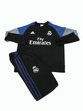 """Adidas Real Madrid Football Black Tracksuit Top Bottoms Boys 14 Yrs 33-34"""" Chest"""