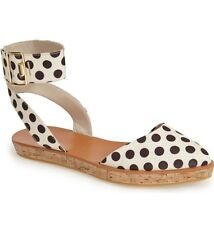 $295 NEW Alice and Olivia Reese Espadrilles sz 37.5 / 7 Polka Dot Flat Shoes