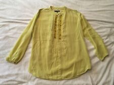 Pas de Calais Lime Green Button down Tunic Shirt Top, Size M