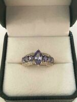 3.00Ct Marquise Cut Tanzanite & Diamond Vintage Ring 14k Yellow Gold Finish
