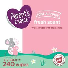 Fresh Scent Baby Wipes, 3 Packs of 80 (240 Count) by Parents Choice