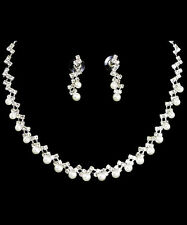 Bridal Jewelry 13p Bridal Contemporary Silver Ptd Genuine Aa 6-7mm White Pearl Necklace Set