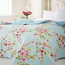 LARGE COUNTRY COTTAGE SHABBY FLORAL BLUE PINK 240 X 260 CHIC BEDSPREAD THROW