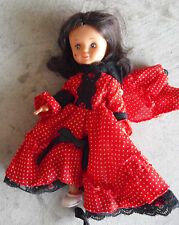 "Vintage 1970s Plastic Black Hair Character Girl Doll 8"" Tall"