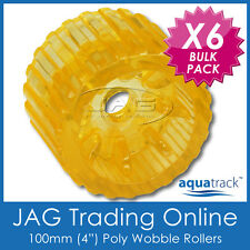 "6 x 100mm 4"" SOLID POLYURETHANE BOAT TRAILER NON-MARKING YELLOW WOBBLE ROLLERS"