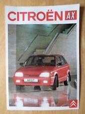 CITROEN AX range 1989 UK Mkt sales brochure - inc GT