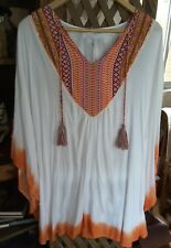 ELLIS & DEWEY Tribal Ombre White and Orange Viscose Kaftan size L