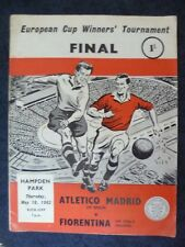 1962 European Cup Winners Cup FINAL- ATLETICO MADRID v FIORENTINA,10 May (Org*VG