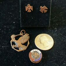 Vintage United States NAVY Buttonhole Pin Button & eagle pendant & earrings set