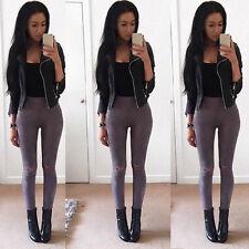 New Womens Ladies Celeb Stretch Ripped Skinny High Waist Denim Pants Jeans Blue