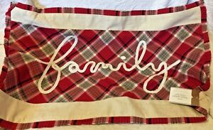 pottery barn Family script applique lumbar pillow cover red black ivory 16 x 26
