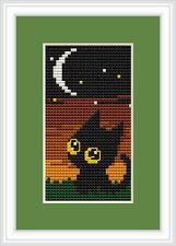 Nightime Black Cat Cross Stitch Kit por Luca S Ideal Para Principiantes 5cm X 10 Cm