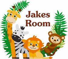 Childrens Personalised Bedroom Name Animal Wall Art Sticker