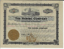PENNSYLVANIA 1913 The Haring Co Stock Certificate Pharmaceuticals Philadelphia