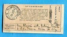 1938 UFFICIO POSTALE SPECIALE 8 guller del 13.12.38 su RICEVUTA VAGLIA  (239971)