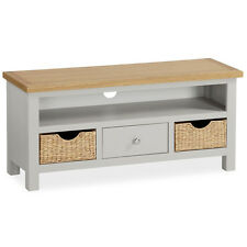 Farrow Grey TV Stand with Baskets / Large Painted TV Unit / Solid Wood / Oak Top