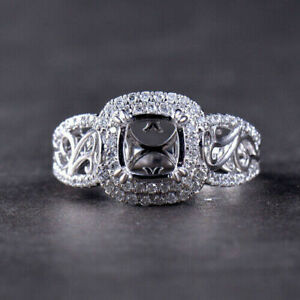 Radiant Cut 5.78x7.43x3.82mm Natural Diamond Ring Setting Solid 14K White Gold