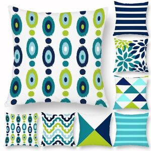 Geometric Abstract Cushion Cover Teal Green Blue Bed Sofa Pillow Cover 45x45CM