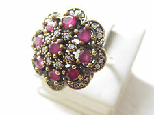 925 Sterling Silver Ruby Turkish Ottoman Hurrem Sultan Flower Ring Size 9.5