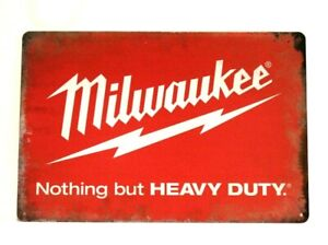 New Milwaukee Tools Tin Poster Sign Rustic Style Man Cave Garage Hardware Store